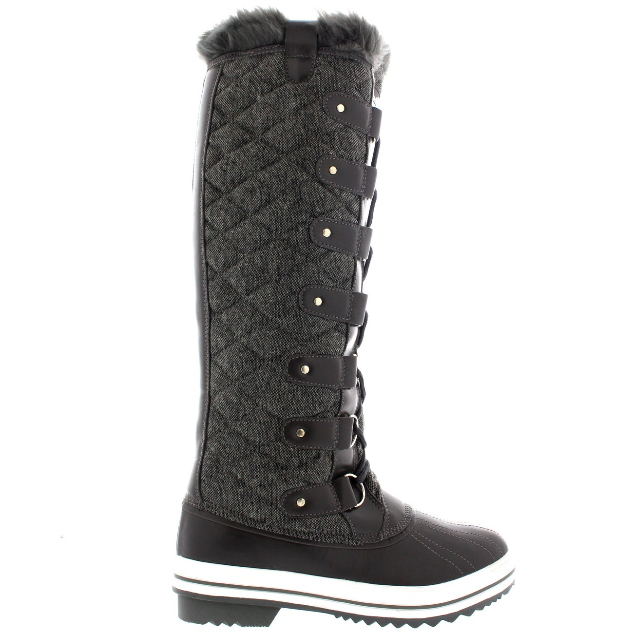 6e08754e602 POLAR Womens Quilted Knee High Duck Rain Waterproof Muck Snow Winter Boots  - 10 - GRT43 YC0054  Amazon.co.uk  Shoes   Bags