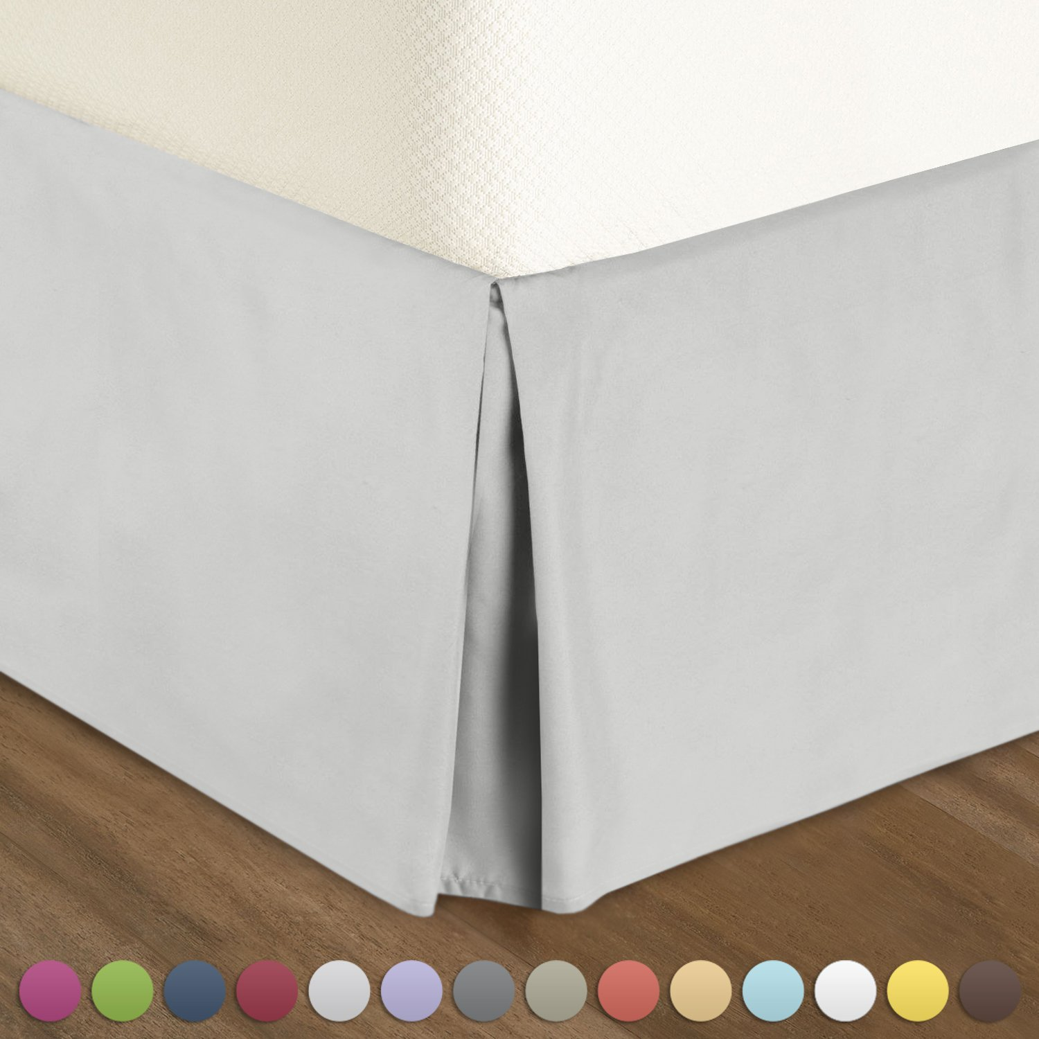 """Nestl Bedding Pleated Bed Skirt - Luxury Microfiber Dust Ruffle, 14"""" Tailored Drop, Queen, Silver"""