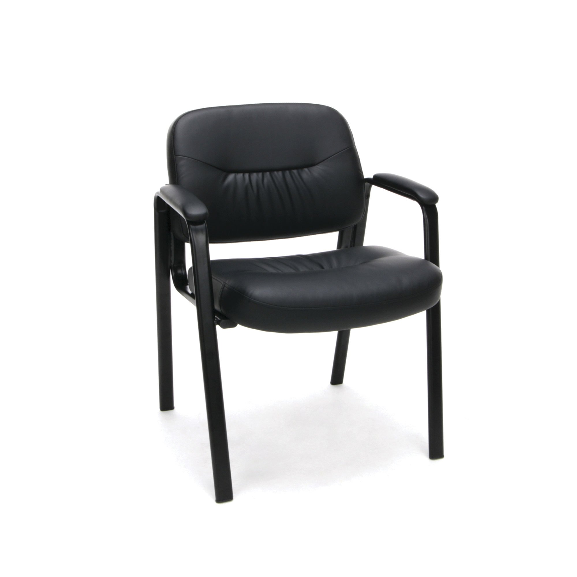 Leather Executive Side Chair with Padded Arms Leg Base