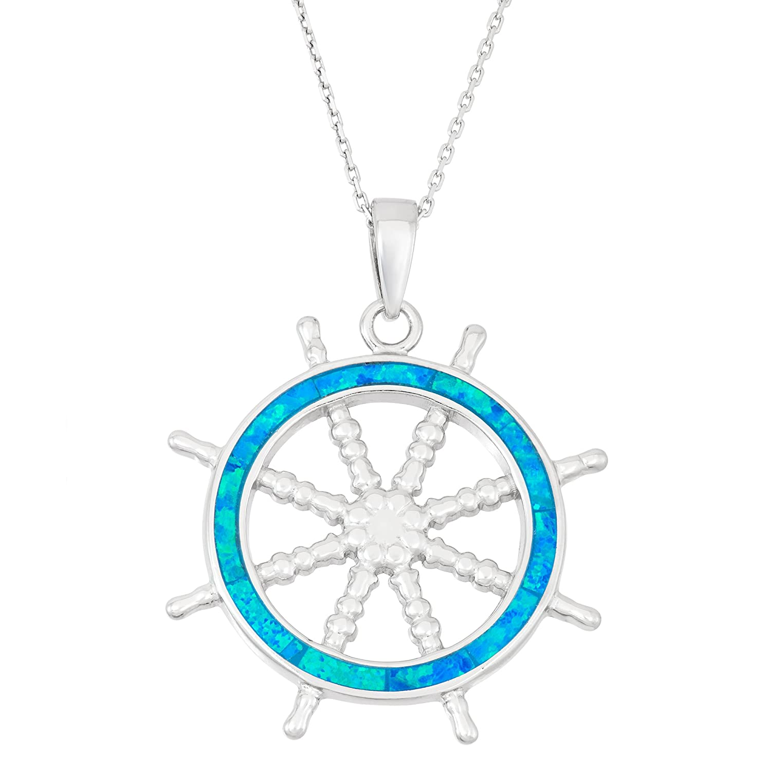 "Sterling Silver Created Blue Opal Ship's Wheel Pendant with 18"" Chain"