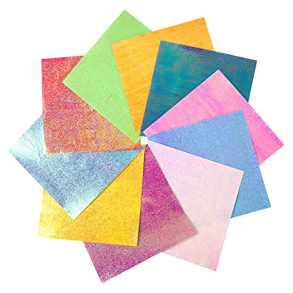Papel para Origami, 100 hojas Shiny Single Sided 10 Rainbow ...