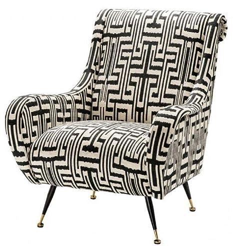 Casa-Padrino sillón Negro/Blanco/latón 80 x 90 x H. 88 cm ...