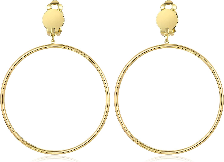 BIRSTONE Clip on 2 Inch Large Big Hoop Minimalist Earrings