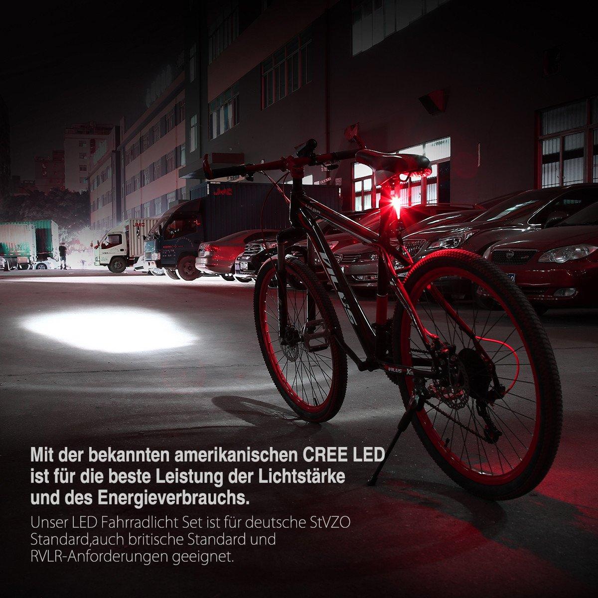 Poweradd StVZO zugelassen LED Fahrradlicht Set inkl. Frontlichter und Rücklicht