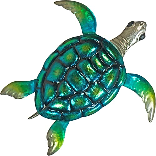 Turtle Metal Wall D cor or Table Decoration – Large 19 x 19 3D Design – Hand-Painted – Indoor or Outdoor Seaside and Tropical Beach Art Contemporary Home Decoration in Coastal Style