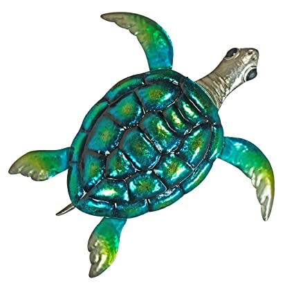 Turtle Metal Wall Decor Or Table Decoration Large 19 X 19 3d Design Hand Painted Indoor Or Outdoor Seaside And Tropical Beach Art