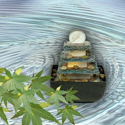 Desktop-Brunnen Flie/ßendes Wasser Dekoration Ornament f/ür Innenhof Tischplatte Innen-//Au/ßenwasserbrunnen EU-Stecker Jimfoty Tischbrunnen mit LED-Lichtern