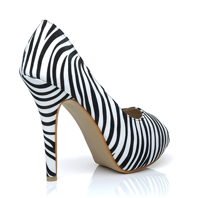 c5bed0851a15 TIA Zebra Print Black & White Stiletto High Heel Platform Peep Toe Shoes:  Amazon.co.uk: Shoes & Bags