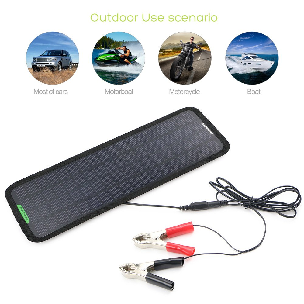 ALLPOWERS 18V 5W Portable Solar Car Battery Charger Bundle with Cigarette Lighter Plug, Battery Charging Clip Line, Suction Cups & Manual by ALLPOWERS (Image #8)