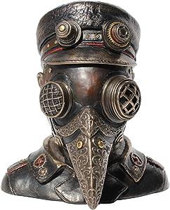 """Steampunk Plague Doctor Bust Trinket Box Sculpture 7"""" High"""