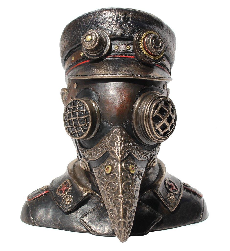 Steampunk Plague Doctor Bust Trinket Box Sculpture 7'' High by Unknown