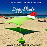 ZiggyShade – Beach SunShade – Beach Tent + Sandbag Anchors & 4 FREE Pegs – UPF50+ Quality Lycra Fabric - Perfect Sun Shelter for Kids & Family at the Beach, Parks, Camping & Outdoors