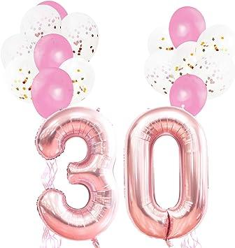 KUNGYO Decoraciones de Fiesta de Cumpleaños para Adultos y Niños, Oro Rosa Gigante Número 30 y Estrella de Helio Globos, Cintas, Globos de Confeti de Látex- Rose Gold Suministros de Fiesta