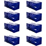 VENO Heavy Duty Extra Large Storage Bag Moving Tote Backpack Carrying Handles & Zipper - Compatible with IKEA Frakta Hand Carts Boxes Bin, Made of Recycled Material Blue - Set of 8