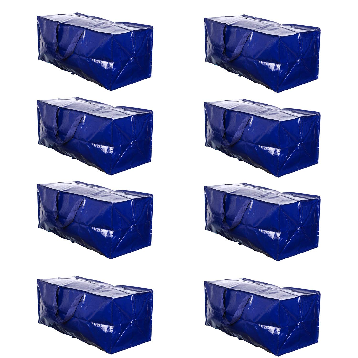 VENO Heavy Duty Extra Large Storage Bag Moving Tote Backpack Carrying Handles & Zipper - Compatible with IKEA Frakta Hand Carts Boxes Bin, Made of Recycled Material (8 Packs) by VENO