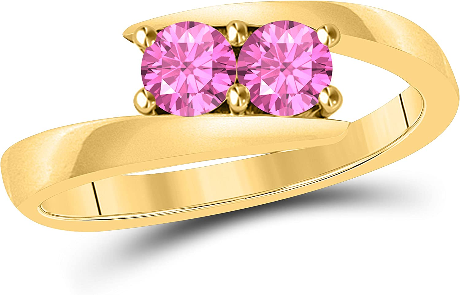 Silver Gems Factory Created Pink Sapphire Solitaire Tension Forever US Two Stone Ring 14k Solid Yellow Gold Finish 0.50ct Alloy