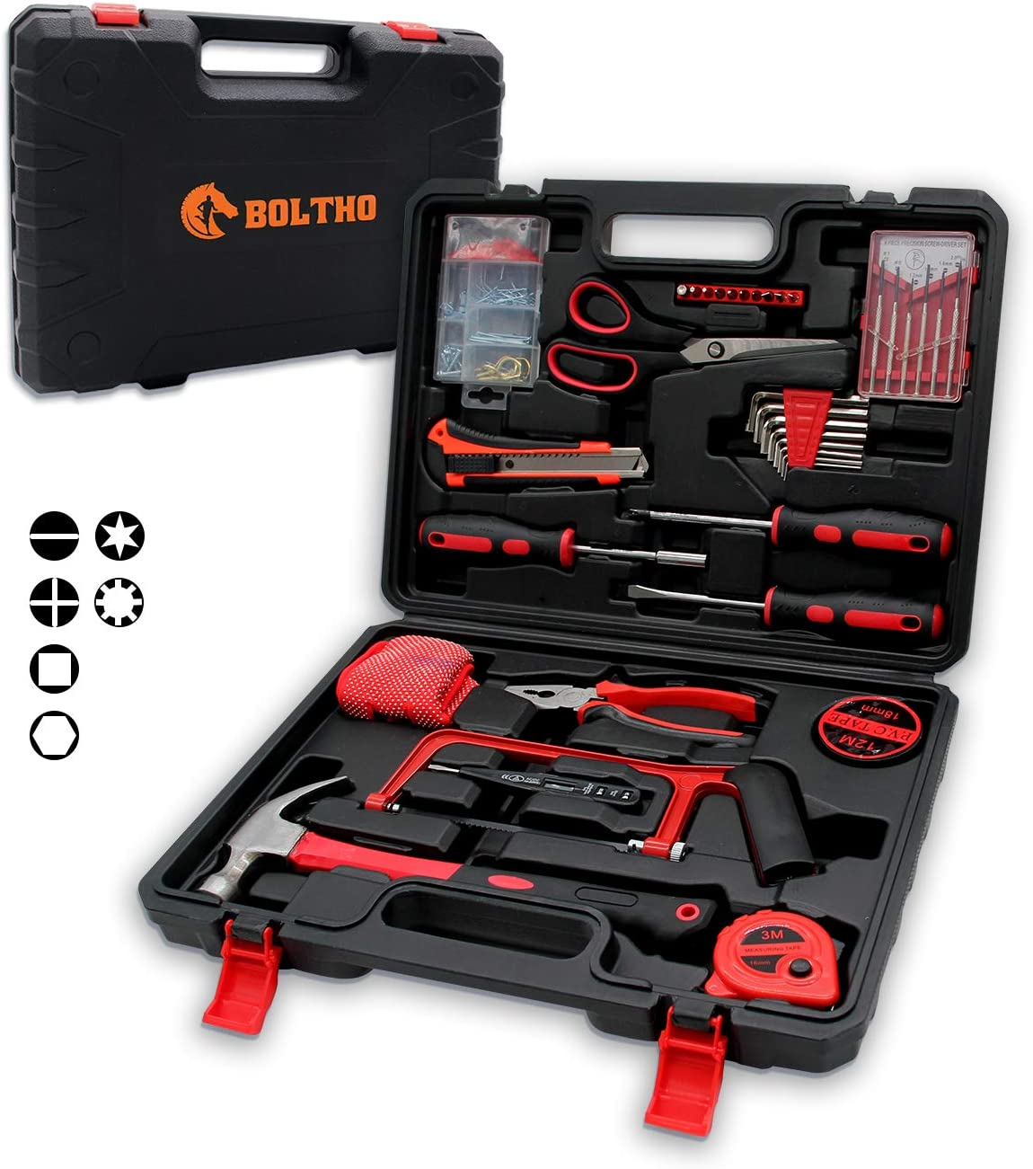 BOLTHO 135 Piece Home Repair Tool Kit, General Household Tool Kit for Home Maintenance with Plastic Toolbox Storage Case