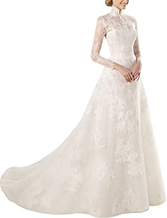 New High Neck White Long Lace Sleeves Beads Veil Train Wedding Dress Prom Gown