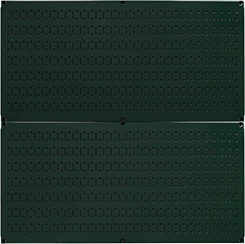 Wall Control Pegboard Rack Horizontal Metal Pegboard Garage Tool Storage Pack – Two 32-Inch Wide x 16-Inch Tall Easy to Install Peg Boards Green