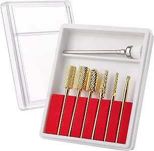 """Makartt 7Pcs New Gold Carbide Nail Drill Bit Set Professional Bits Nail Art Tools 3/32"""" B-21"""