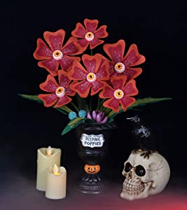 Halloween Succulents Peeping Poppies with Spooky Red Eyeballs Artificial Halloween Decor Potted Faux Plant (in Black Planter) and Felt Leaves Ghoulish Garden for Creepy Decoration Halloween Gathering