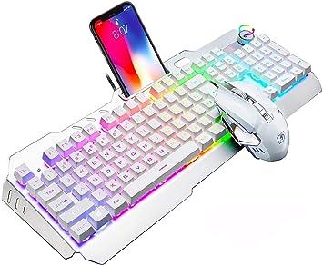 UrChoiceLtd Juego De Teclado y Mouse Con Cable Rainbow LED Retroiluminada USB Gaming Teclado Metal Impermeable + Cable 3200 6 BotonesUSB óptico Juego ...