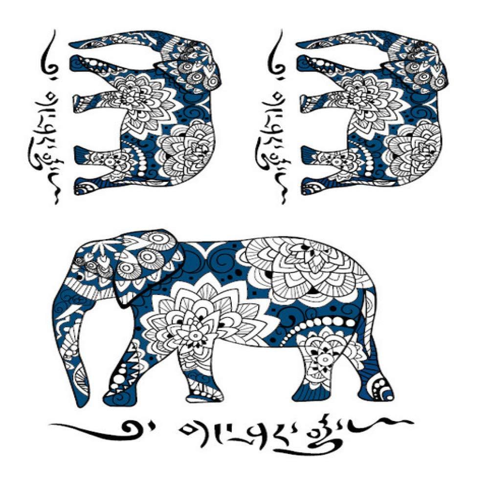 5piezas Elefante Grande Tatuaje Temporal Pegatina Impermeable ...