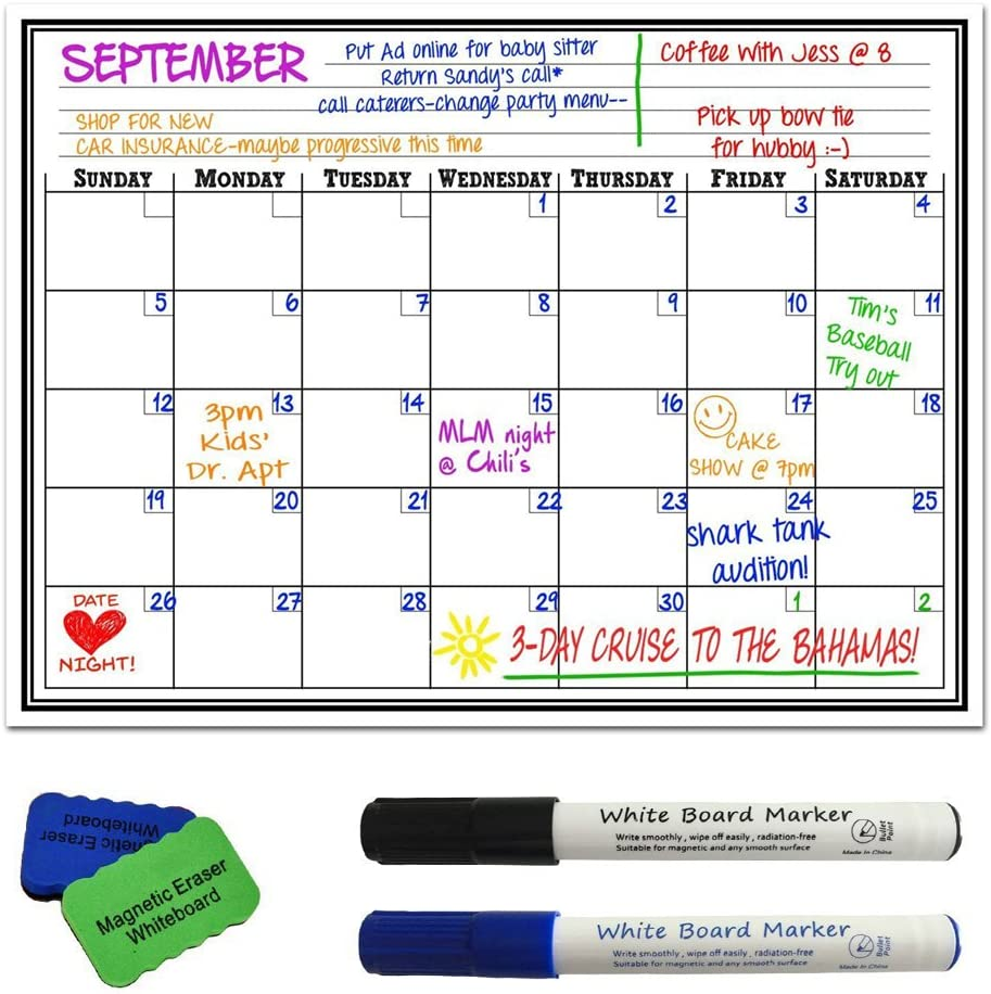 """PAPRMA Monthly Magnetic Refrigerator Calendar Dry Erase Board Monthly Planner Calendar for Kitchen Fridge, Including 2 Magnetic Erasers and 2 Markers, 17"""" x 11"""", White"""