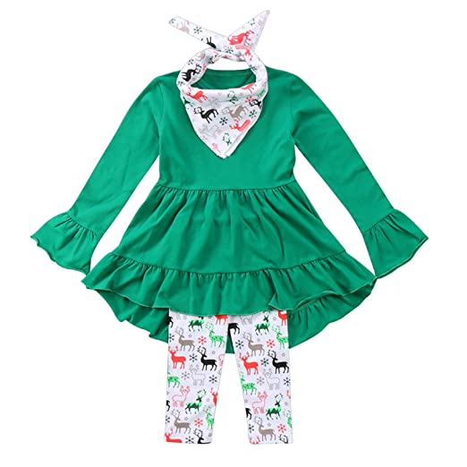 fcad2372486a6 Toddler Girl Christmas Outfit Ruffles Tunic Dress Tops+Reindeer Leggings+Scarf  3 Pcs Clothing