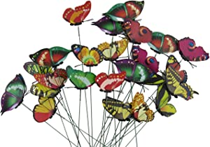 CJESLNA Set of 24 Garden Yard Planter Colorful Whimsical Butterfly Stakes