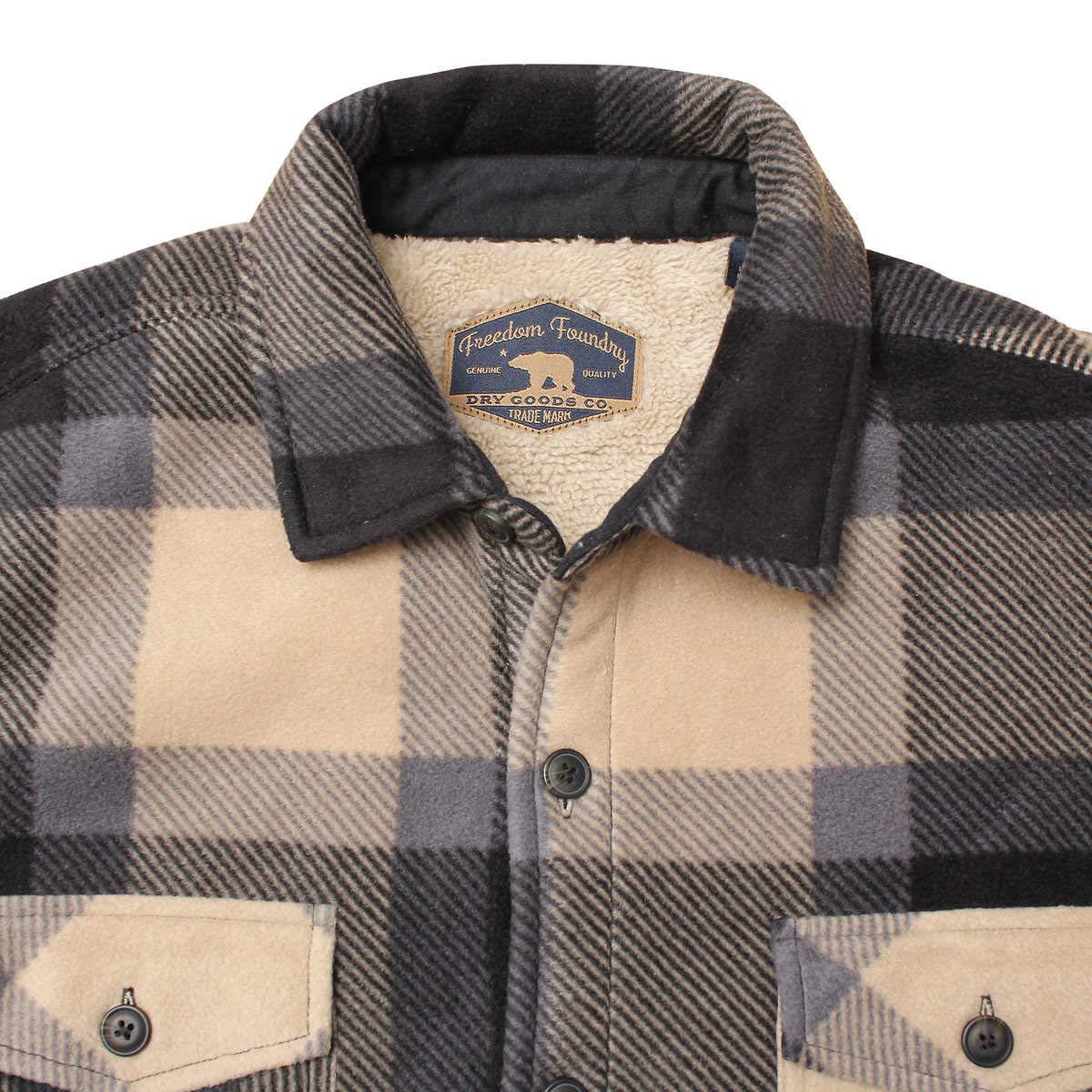 Freedom Foundry Mens Plaid Fleece Jackets Super Plush Sherpa Lined Jacket Shirt