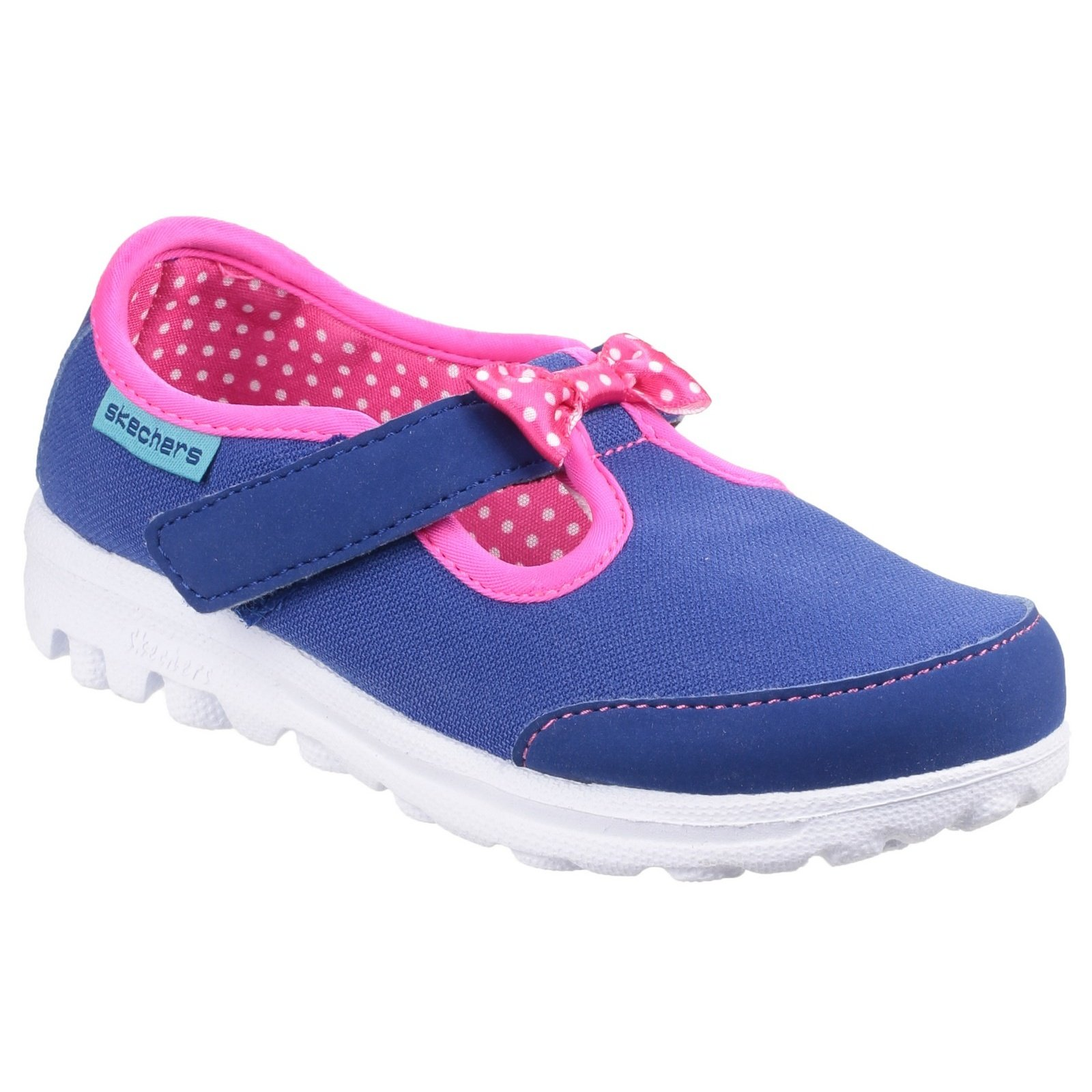 Skechers Childrens Girls Go Walk Bitty Bow Touch Fasten Shoe (5 US Child) (Blue/Pink)