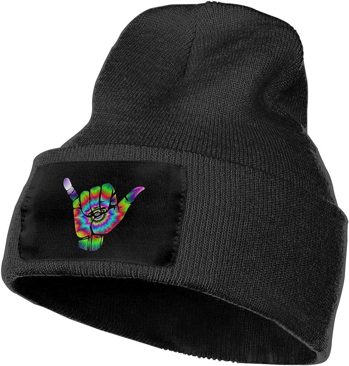 COLLJL-8 Men//Women Hang Loose Peace Tie Dye Outdoor Stretch Knit Beanies Hat Soft Winter Skull Caps