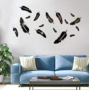 HOODDEAL Acrylic Mirror Wall Decor Removable DIY Feather Modern Art Wall Stickers for Home Office Decoration Bathroom Living Room Bedroom Murals Decals (16 PCS, Black)