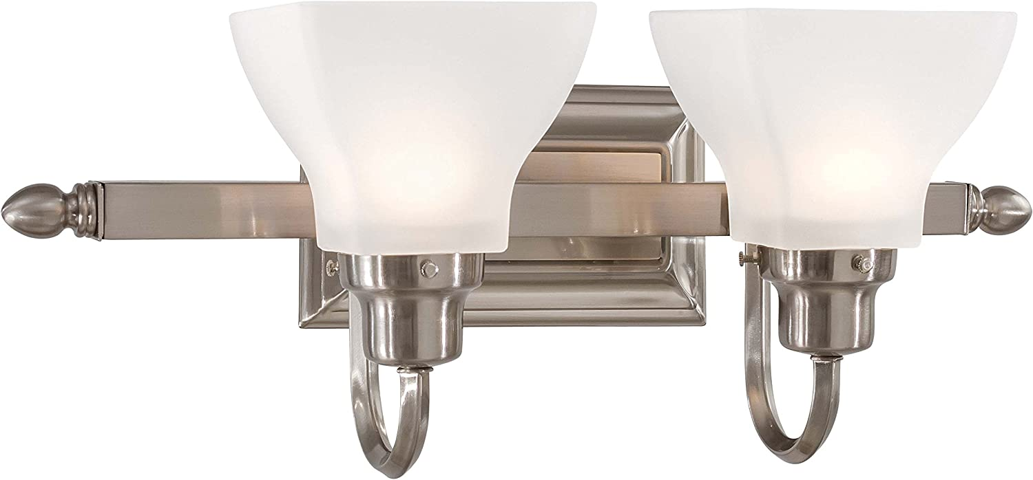 Minka Lavery Wall Light Fixtures 5582-84 Mission Ridge Reversible Glass Bath Vanity Lighting, 2 Light, 200 Watts, Nickel