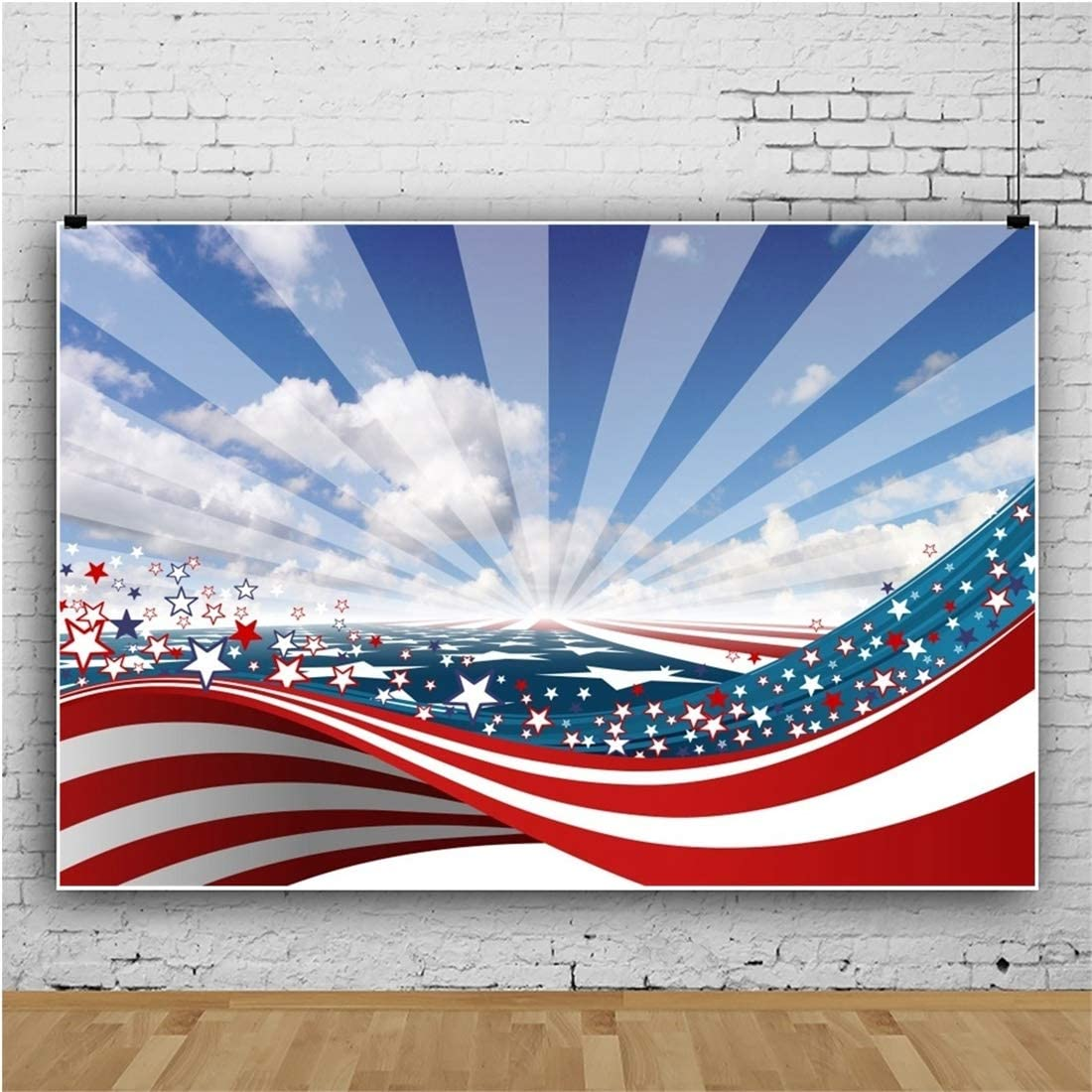 Yeele 10x8ft Independence Day Photography Background Cartoon American Flag Blue Sky White Cloud Sea Ocean Photo Backdrop Studio Props Video Drape