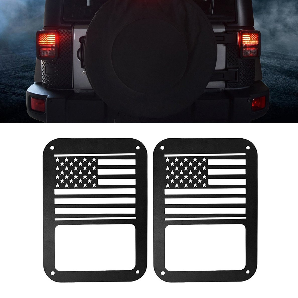 IBACP Tail Light Cover Guard USA Flag Style taillight Guards Protectors Covers for 2007-2017 Jeep Wrangler JK Pair