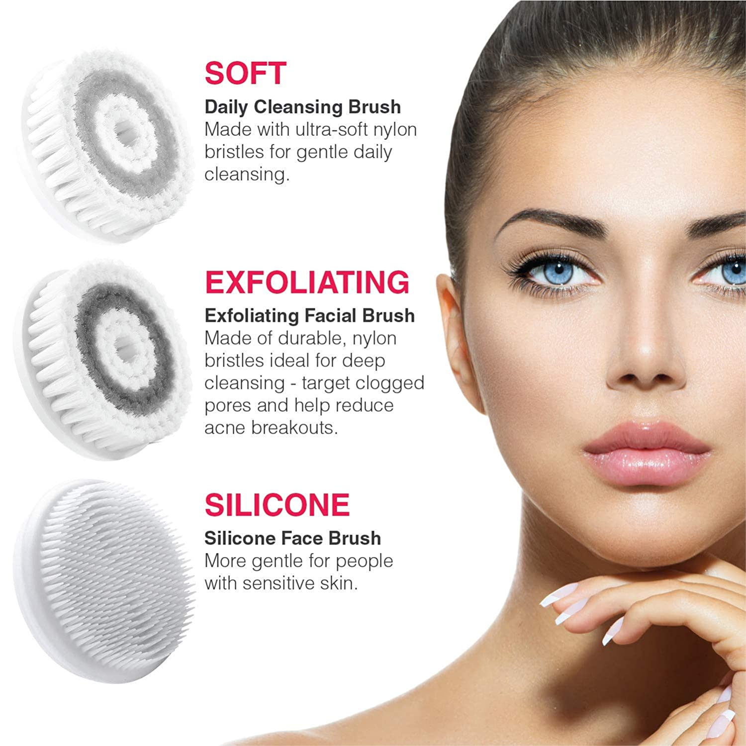 LIVINGPRO Waterproof Facial Cleansing Spin Brush Set with 3 Exfoliating Brush Heads Travel Case- Dual Speed Modes for Deep Cleansing, Gentle Exfoliating Removing Blackhead