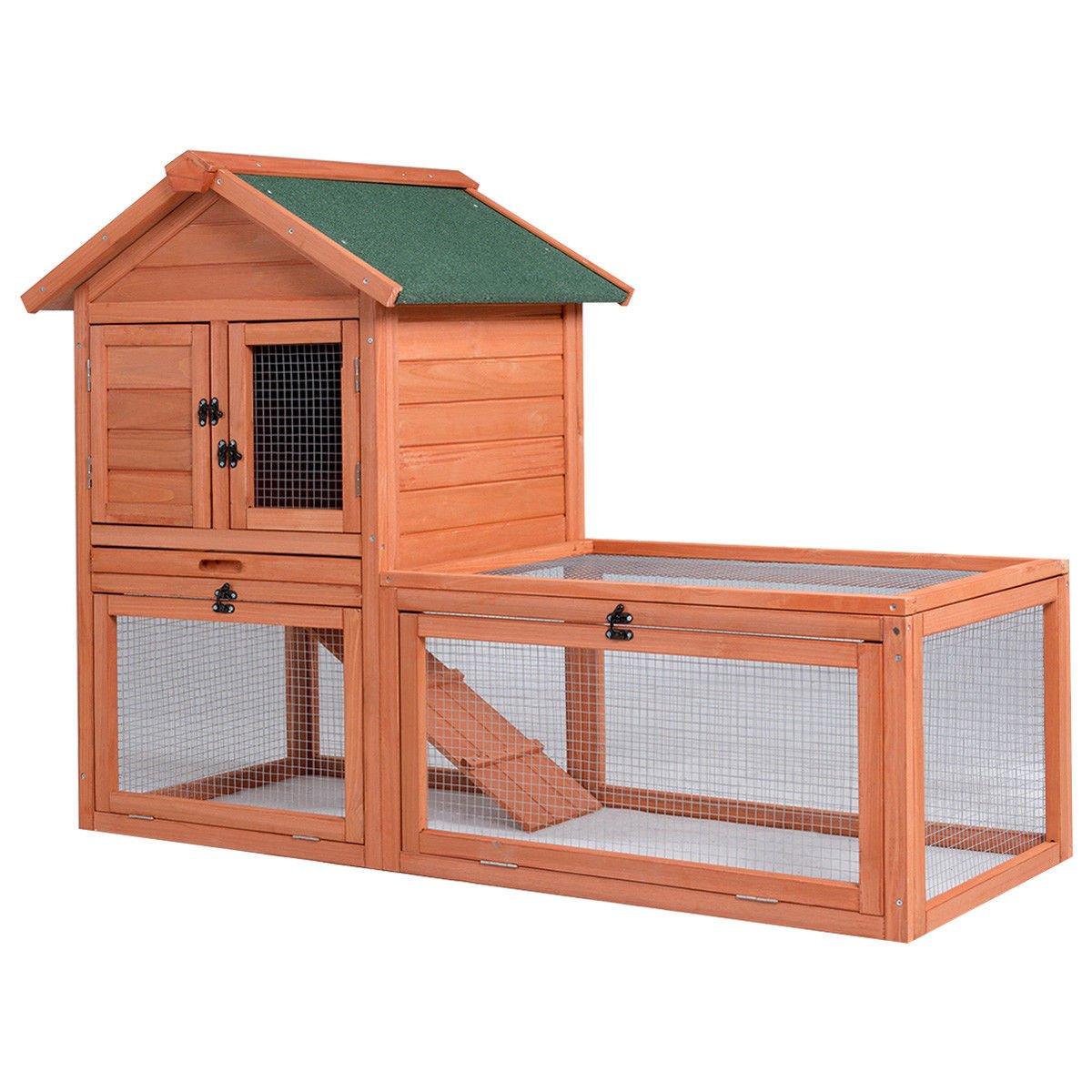Tangkula Chicken Coop Wooden Garden Backyard Bunny Small Animal Hen Cage Rabbit Hutch with Run