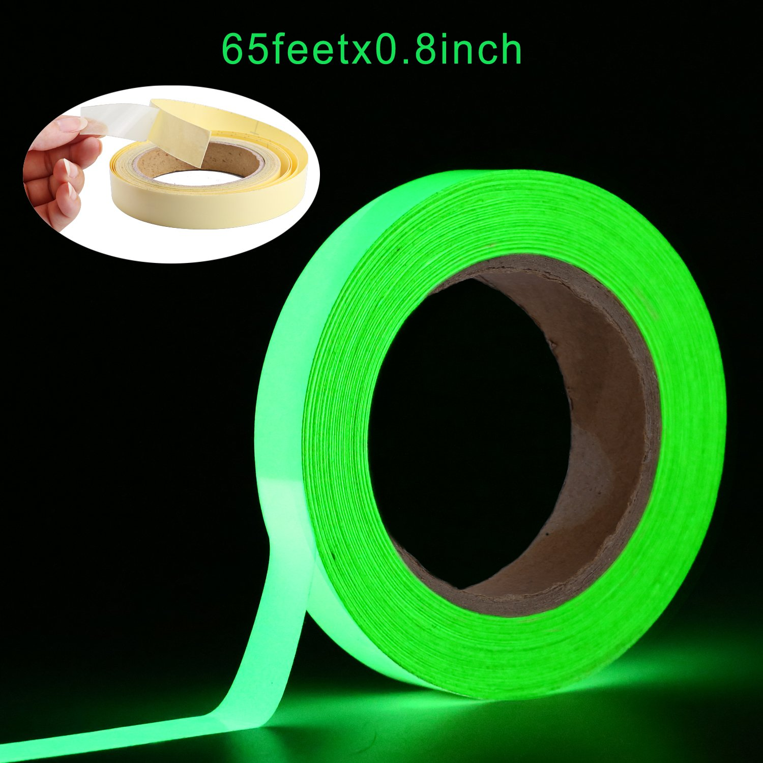 Glow in The Dark Tape Oumers 65 ft x 0.8 inch Green High Bright Luminous Tape Sticker Removeble Waterproof and Photoluminescent