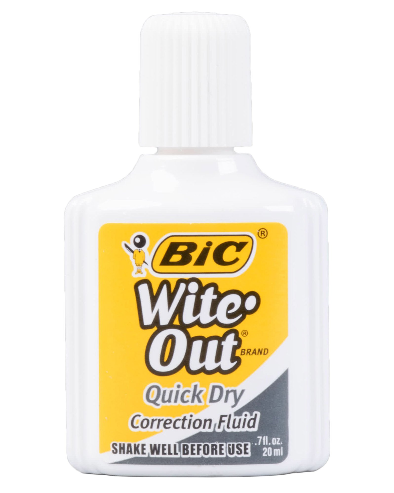 Set of 4 Wite-Out Quick Dry Correction Fluid -.7fl.oz./20ml per Bottle - Foam Wand Applicator - White - Works on Red and Dark Ink and Permanent Marker! by BicWite-Out (Image #2)