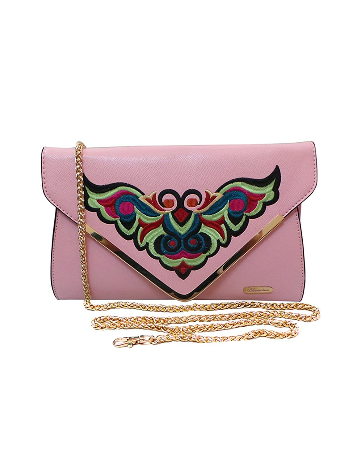 Bhamini Light Pink Embroidered Contemporary Clutch