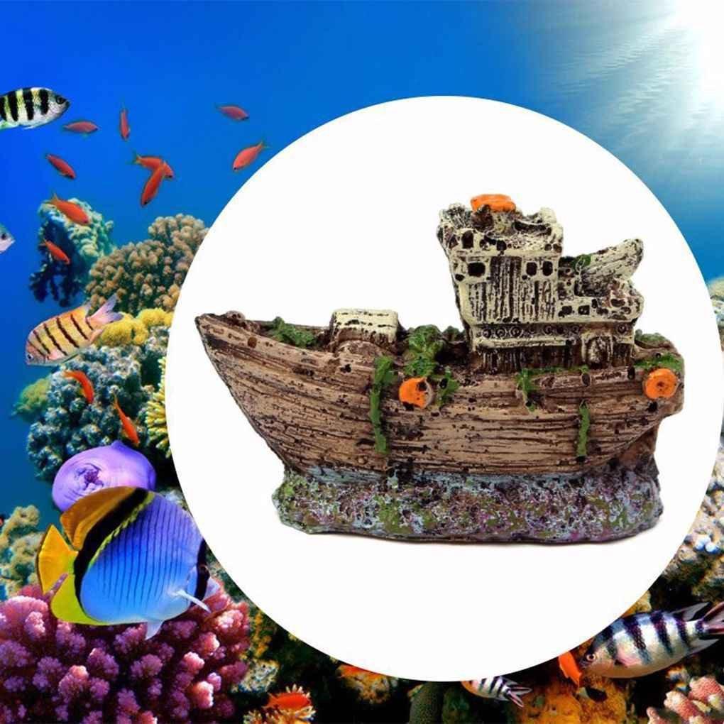Broxah Acuario Ornamento Pirata Barco hundido Naufragio Barco Pecera Tanque Paisaje acuático Cueva Decoración: Amazon.es: Hogar