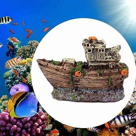 Broxah Acuario Ornamento Pirata Barco hundido Naufragio Barco Pecera Tanque Paisaje acuático Cueva Decoración