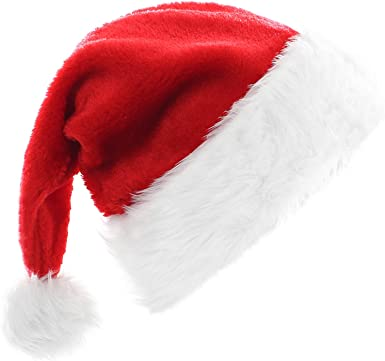 Amazon Com High End Santa Hat Christmas Hat For Adults Decoration Velvet Plush Super Soft Thickening Kitchen Dining