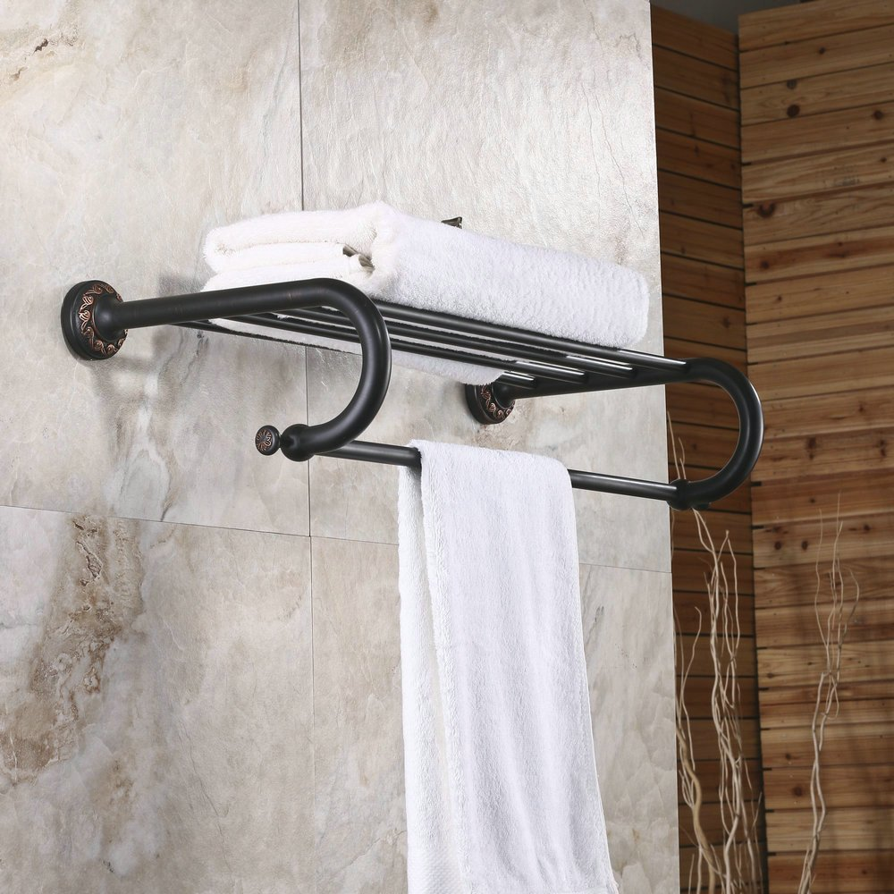 Hiendure Wall Mount Solid Brass Bathroom Shelf Towel Rack and Bar ,Oil Rubbed Bronze
