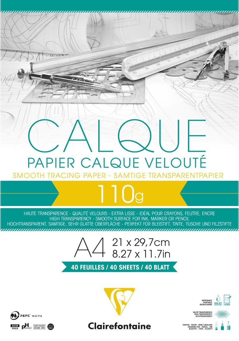 Clairefontaine 0.375 x 20 m Tracing Paper Roll 110 g