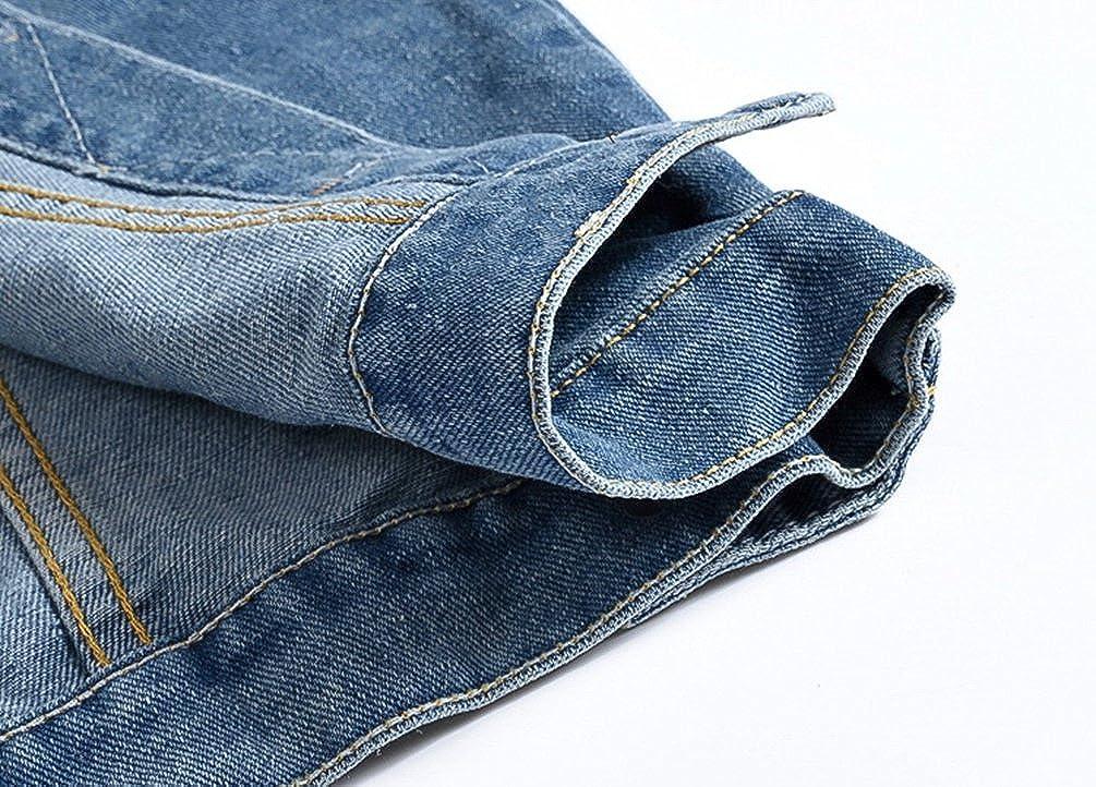 YiJee Uomo Tempo Libero Giacca Senza Maniche Giubbotto Denim Jeans Strappati Retro Panciotto