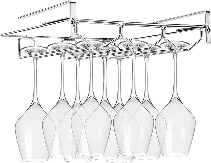 Fancart Wine Glass Rack Wine Glass Stemware Hanger Holder Storage for Bar Kitchen 21 inch Stainless Steel Wine Glass Hanger Under Cabinet Stemware Wine Glass Holder