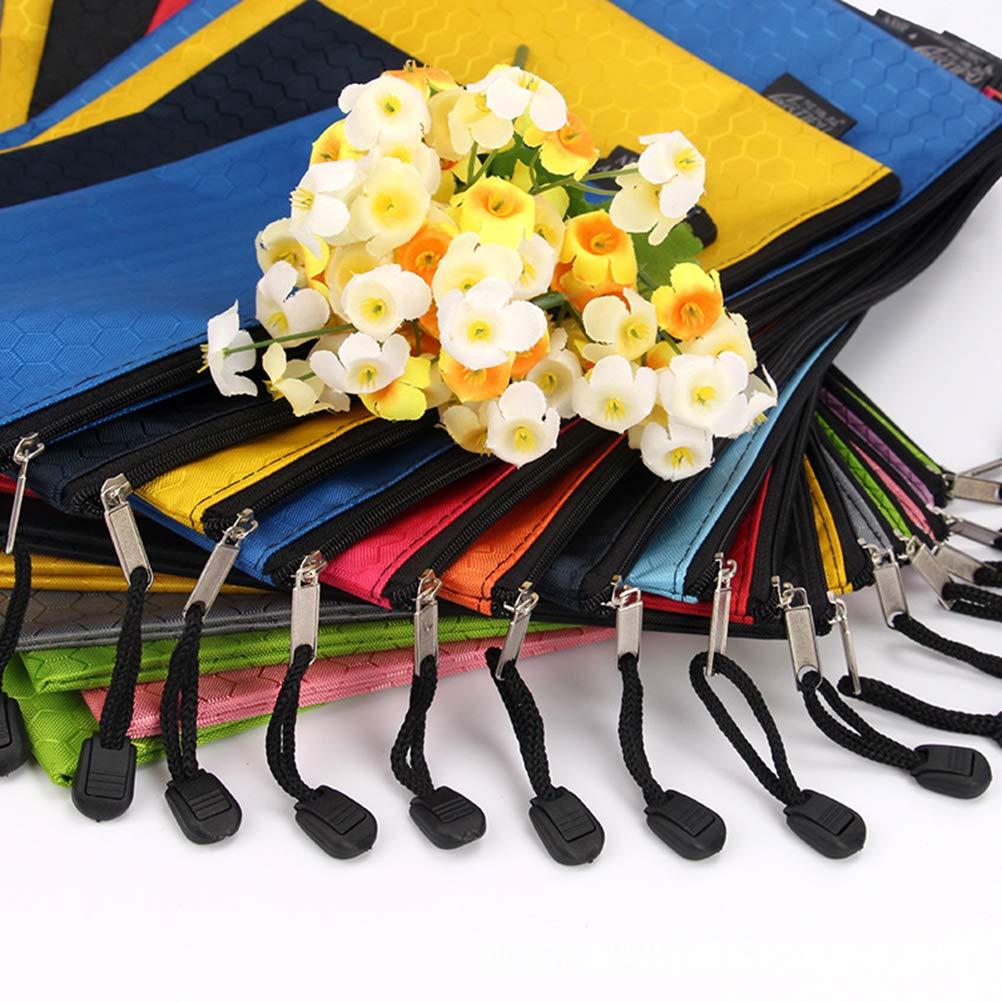 TOYMYTOY 10 pezzi Sacchetti di File Cerniera A4 Impermeabile Plastica Sacchetto File Bag Astuccio,Colori Casuale